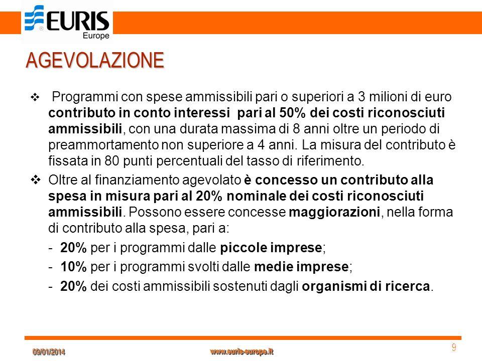 09/01/201409/01/2014 9 9 www.euris-europe.it AGEVOLAZIONE Programmi con spese ammissibili pari o superiori a 3 milioni di euro contributo in conto int