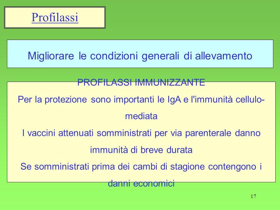 17 Migliorare le condizioni generali di allevamento Profilassi PROFILASSI IMMUNIZZANTE Per la protezione sono importanti le IgA e l'immunità cellulo-