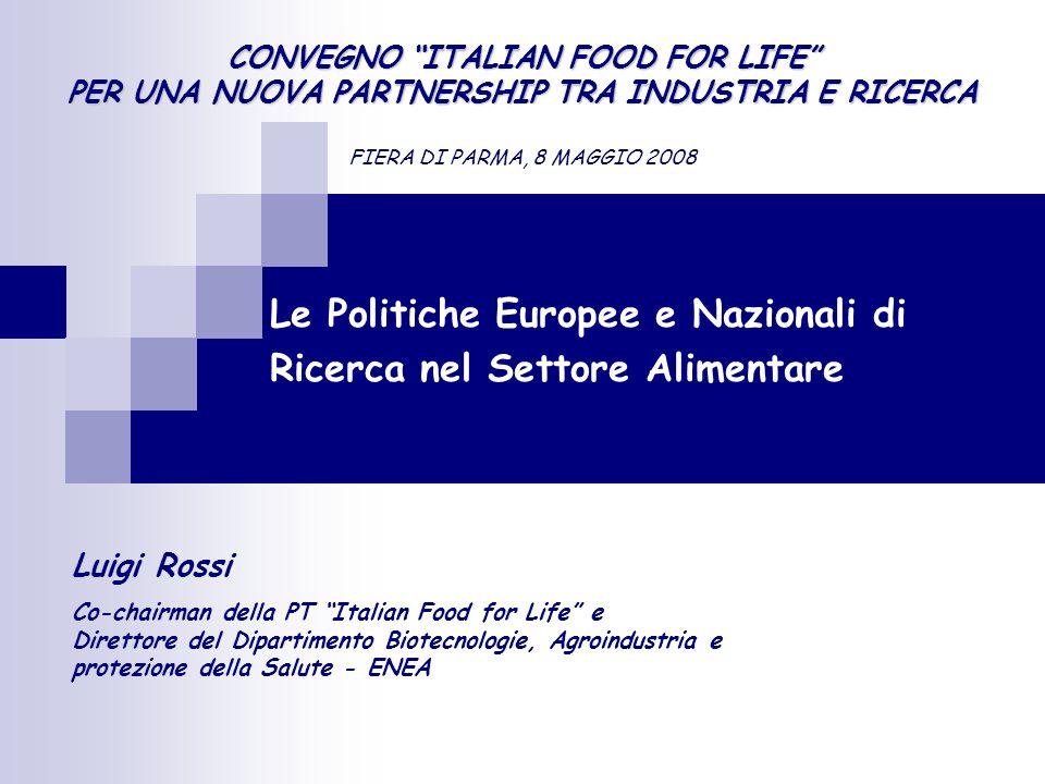 Le Politiche Europee e Nazionali di Ricerca nel Settore Alimentare Luigi Rossi Co-chairman della PT Italian Food for Life e Direttore del Dipartimento Biotecnologie, Agroindustria e protezione della Salute - ENEA CONVEGNO ITALIAN FOOD FOR LIFE PER UNA NUOVA PARTNERSHIP TRA INDUSTRIA E RICERCA FIERA DI PARMA, 8 MAGGIO 2008