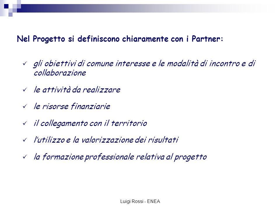 Luigi Rossi - ENEA Nel Progetto si definiscono chiaramente con i Partner: gli obiettivi di comune interesse e le modalità di incontro e di collaborazione le attività da realizzare le risorse finanziarie il collegamento con il territorio lutilizzo e la valorizzazione dei risultati la formazione professionale relativa al progetto