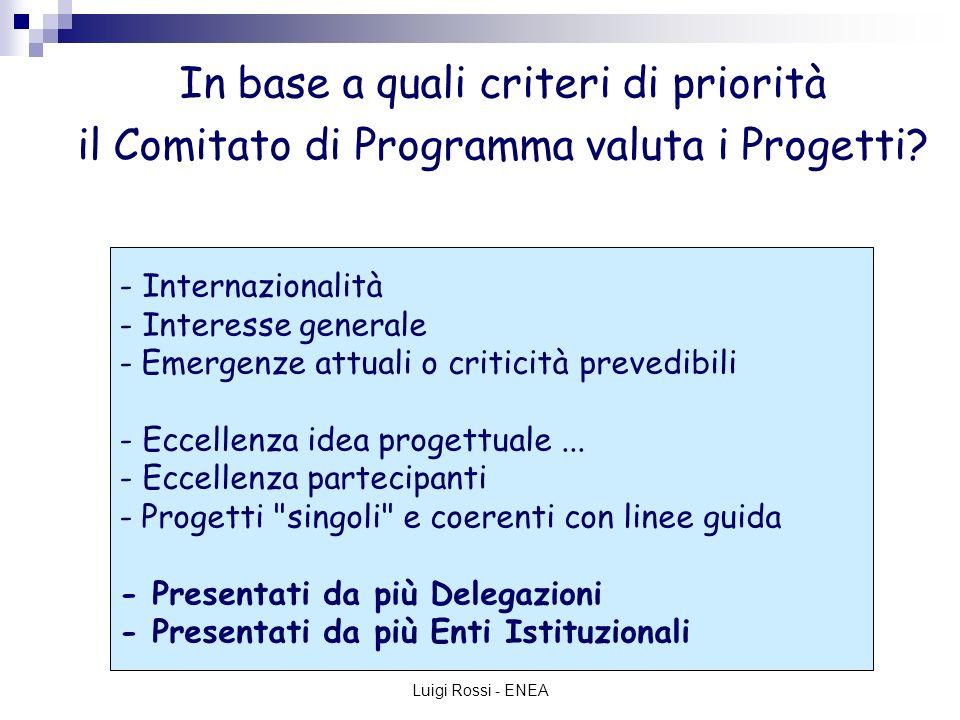 Luigi Rossi - ENEA Quadro Strategico Nazionale per la politica regionale di sviluppo 2007-2013 LE PRIORITA