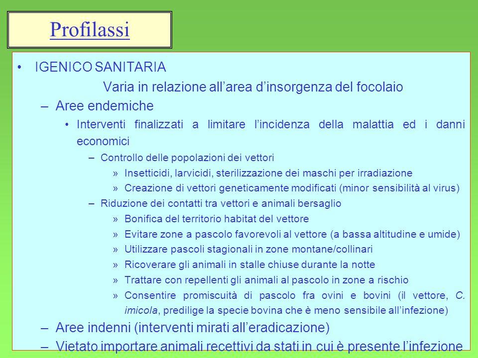 33 IGENICO SANITARIA Varia in relazione allarea dinsorgenza del focolaio –Aree endemiche Interventi finalizzati a limitare lincidenza della malattia e
