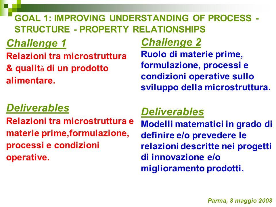 GOAL 1: IMPROVING UNDERSTANDING OF PROCESS - STRUCTURE - PROPERTY RELATIONSHIPS Challenge 1 Relazioni tra microstruttura & qualit à di un prodotto ali