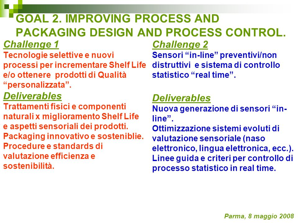GOAL 2. IMPROVING PROCESS AND PACKAGING DESIGN AND PROCESS CONTROL. Challenge 1 Tecnologie selettive e nuovi processi per incrementare Shelf Life e/o