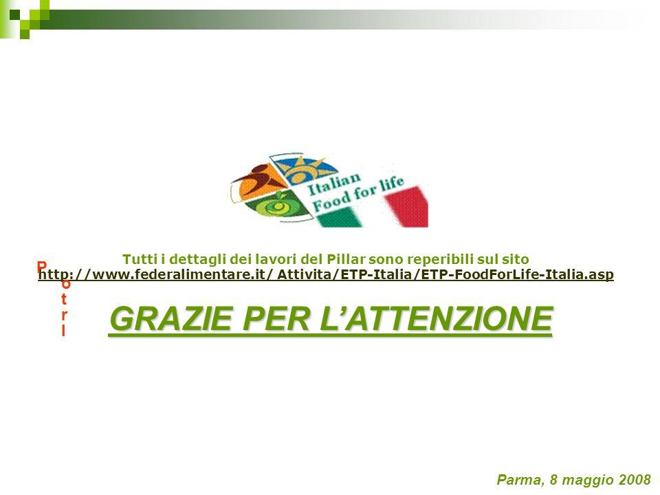 Tutti i dettagli dei lavori del Pillar sono reperibili sul sito http://www.federalimentare.it/ Attivita/ETP-Italia/ETP-FoodForLife-Italia.asp Parma, 8