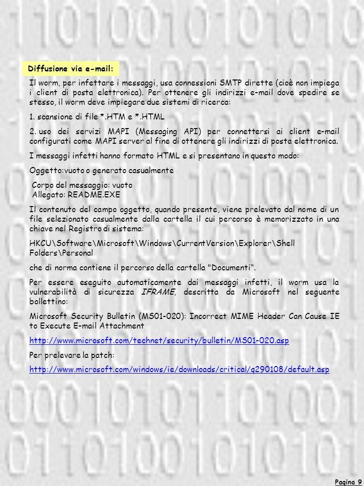 Pagina 9 Il worm, per infettare i messaggi, usa connessioni SMTP dirette (cioè non impiega i client di posta elettronica).