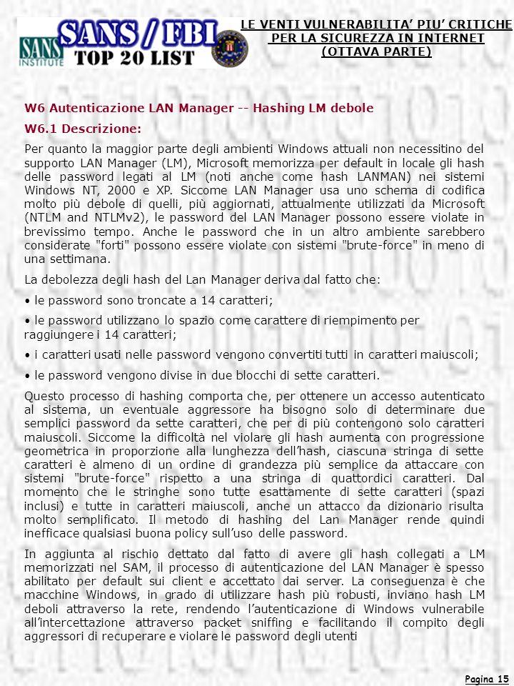 Pagina 15 LE VENTI VULNERABILITA PIU CRITICHE PER LA SICUREZZA IN INTERNET (OTTAVA PARTE) W6 Autenticazione LAN Manager -- Hashing LM debole W6.1 Desc