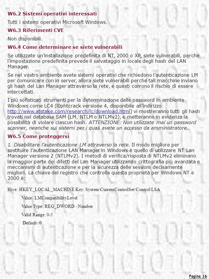 Pagina 16 W6.2 Sistemi operativi interessati Tutti i sistemi operativi Microsoft Windows. W6.3 Riferimenti CVE Non disponibili. W6.4 Come determinare