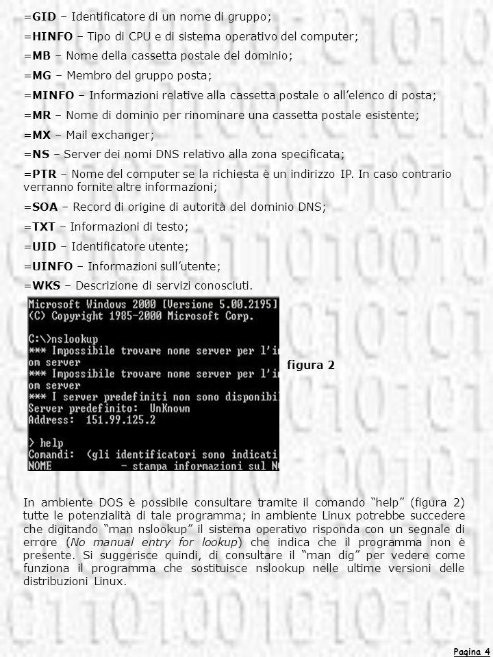 Pagina 4 =GID – Identificatore di un nome di gruppo; =HINFO – Tipo di CPU e di sistema operativo del computer; =MB – Nome della cassetta postale del d