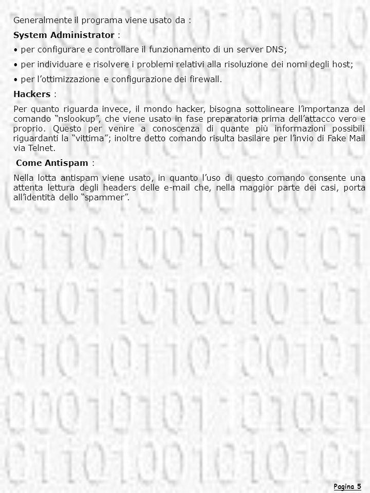 Pagina 5 Generalmente il programa viene usato da : System Administrator : per configurare e controllare il funzionamento di un server DNS; per individ