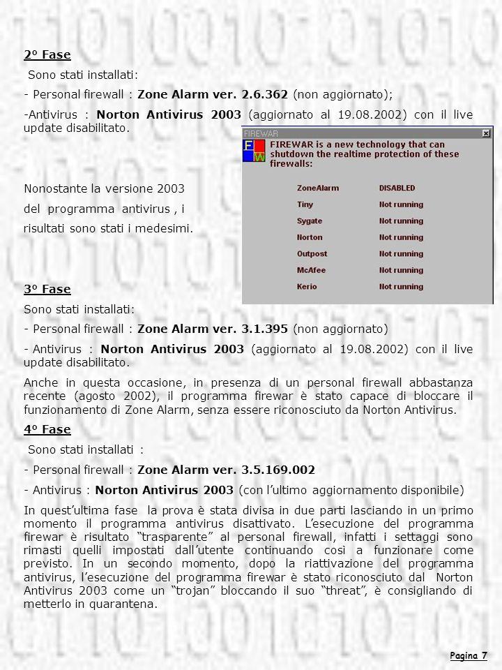 Pagina 7 2° Fase Sono stati installati: - Personal firewall : Zone Alarm ver. 2.6.362 (non aggiornato); -Antivirus : Norton Antivirus 2003 (aggiornato