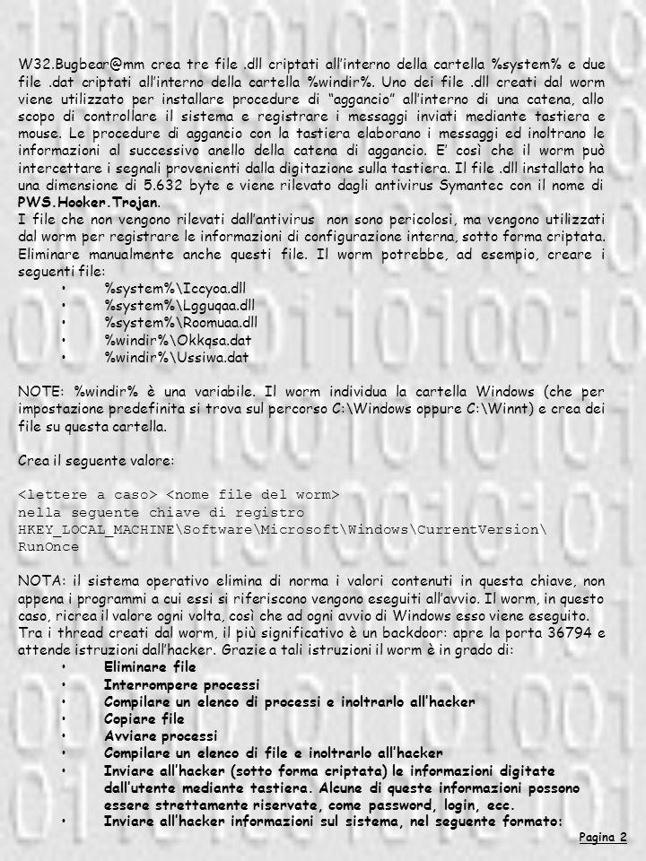W32.Bugbear@mm crea tre file.dll criptati allinterno della cartella %system% e due file.dat criptati allinterno della cartella %windir%.