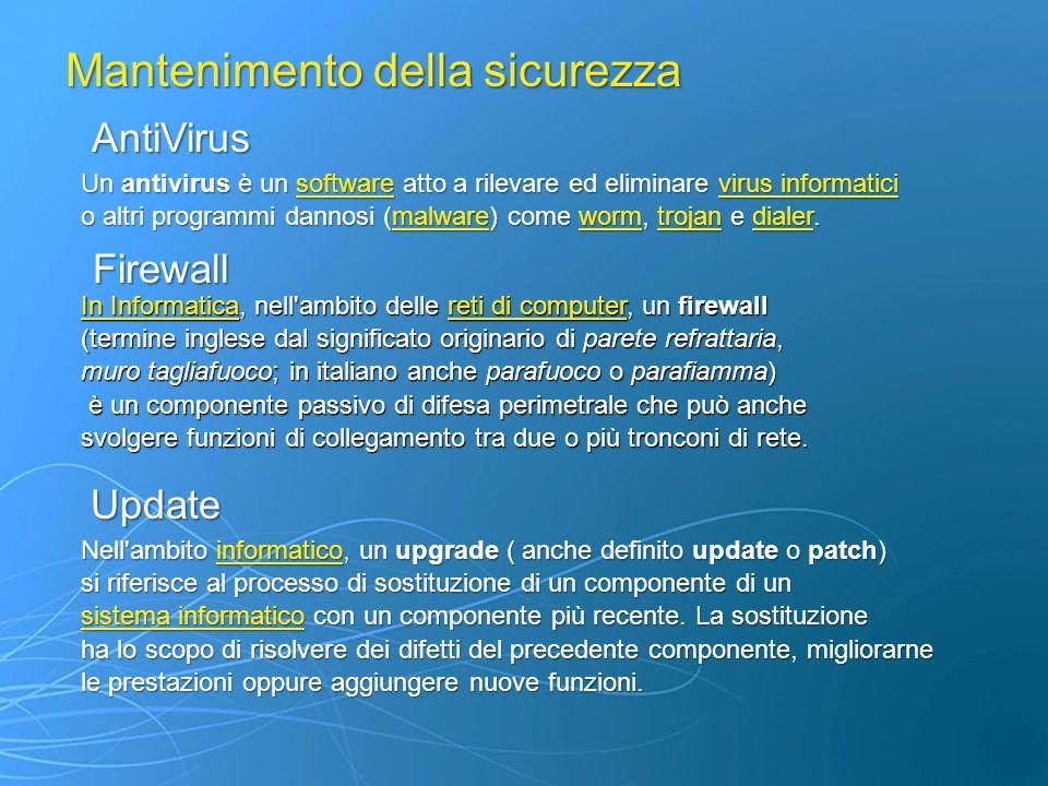 AntiVirus Firewall Update Un antivirus è un software atto a rilevare ed eliminare virus informatici softwarevirus informaticisoftwarevirus informatici