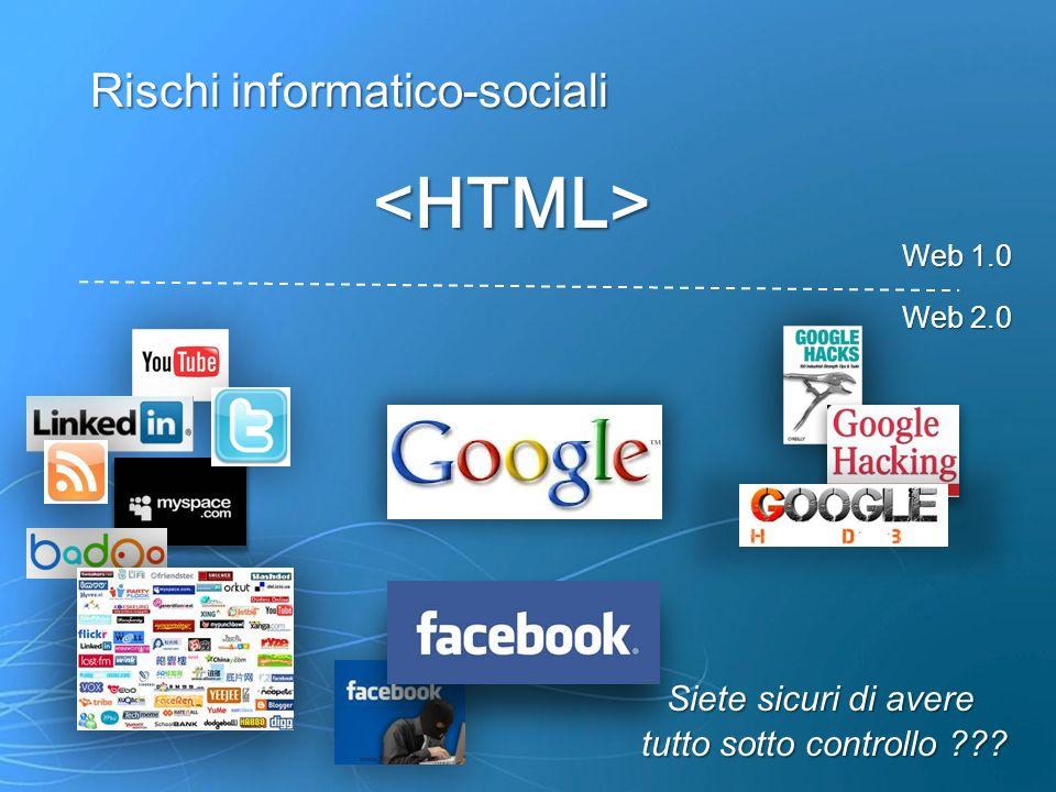 Rischi informatico-sociali <HTML> Web 1.0 Web 2.0 Siete sicuri di avere tutto sotto controllo ???