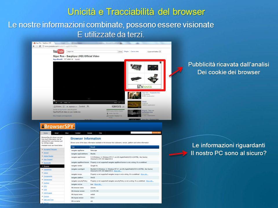 Unicità e Tracciabilità del browser Risultati I desktop browser moderni sono tracciabili al 90% I desktop browser moderni sono tracciabili al 90% Maggior esposizione a phishing, virus e worm Maggior esposizione a phishing, virus e worm