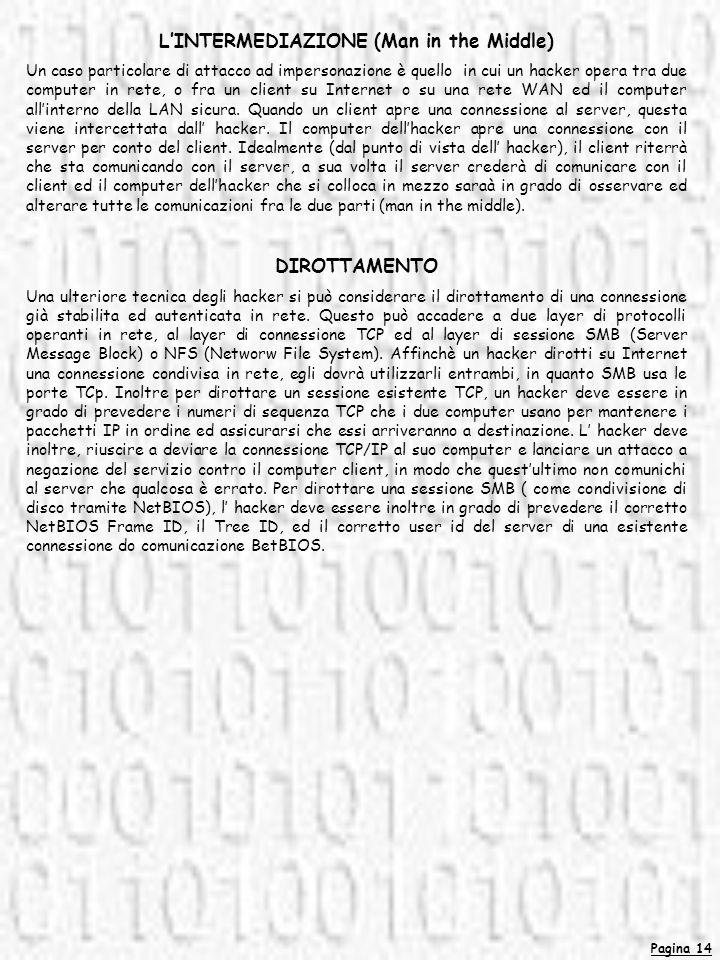 Pagina 14 LINTERMEDIAZIONE (Man in the Middle) Un caso particolare di attacco ad impersonazione è quello in cui un hacker opera tra due computer in re