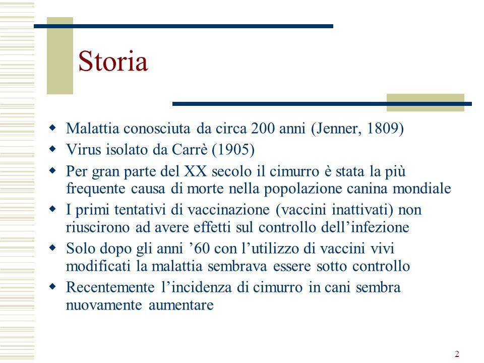 2 Storia Malattia conosciuta da circa 200 anni (Jenner, 1809) Virus isolato da Carrè (1905) Per gran parte del XX secolo il cimurro è stata la più fre