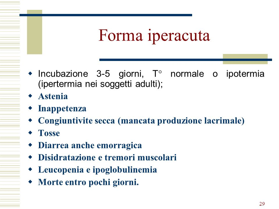 29 Forma iperacuta Incubazione 3-5 giorni, T° normale o ipotermia (ipertermia nei soggetti adulti); Astenia Inappetenza Congiuntivite secca (mancata p