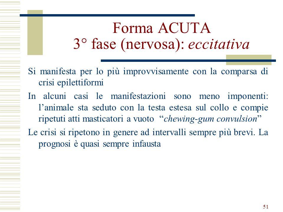 51 Forma ACUTA 3° fase (nervosa): eccitativa Si manifesta per lo più improvvisamente con la comparsa di crisi epilettiformi In alcuni casi le manifest