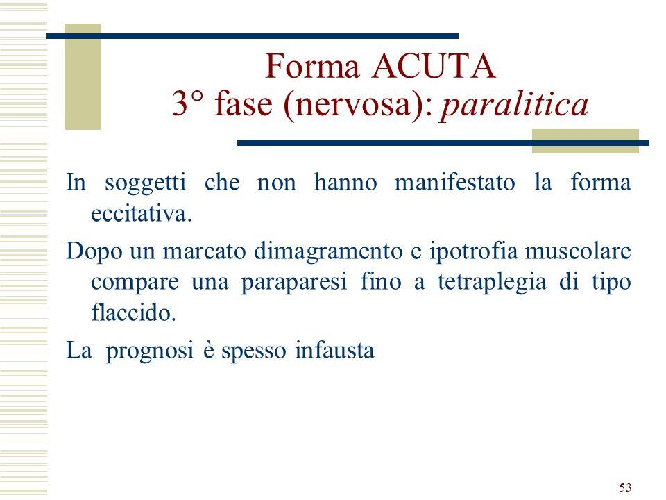 53 Forma ACUTA 3° fase (nervosa): paralitica In soggetti che non hanno manifestato la forma eccitativa. Dopo un marcato dimagramento e ipotrofia musco