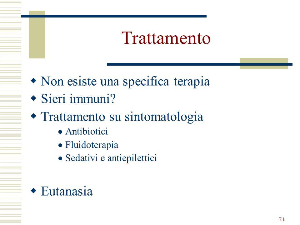 71 Trattamento Non esiste una specifica terapia Sieri immuni? Trattamento su sintomatologia Antibiotici Fluidoterapia Sedativi e antiepilettici Eutana