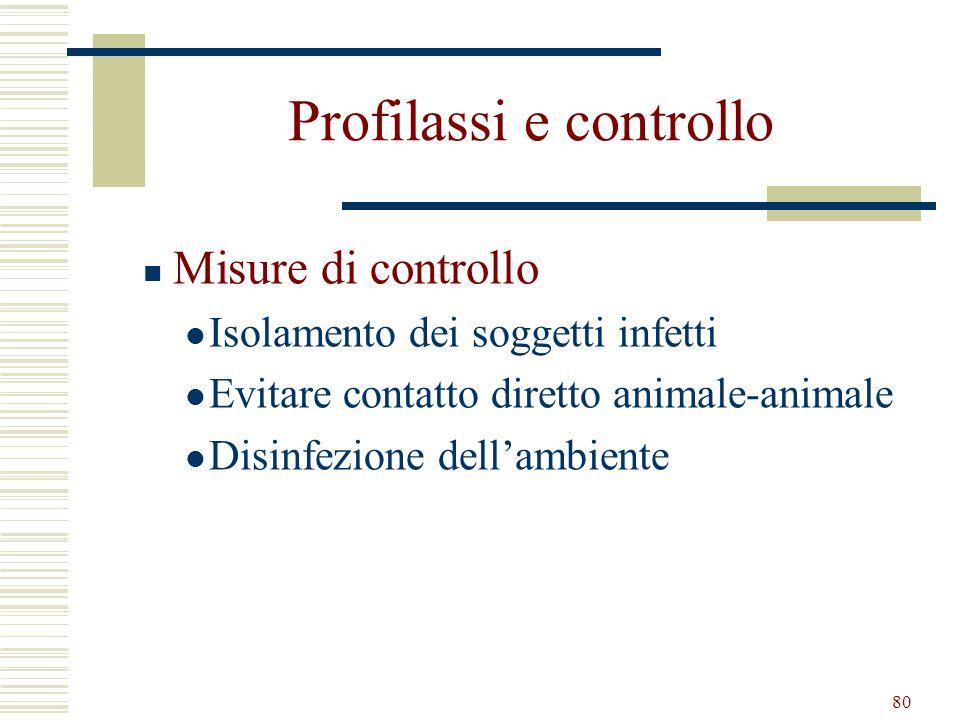 80 Profilassi e controllo Misure di controllo Isolamento dei soggetti infetti Evitare contatto diretto animale-animale Disinfezione dellambiente