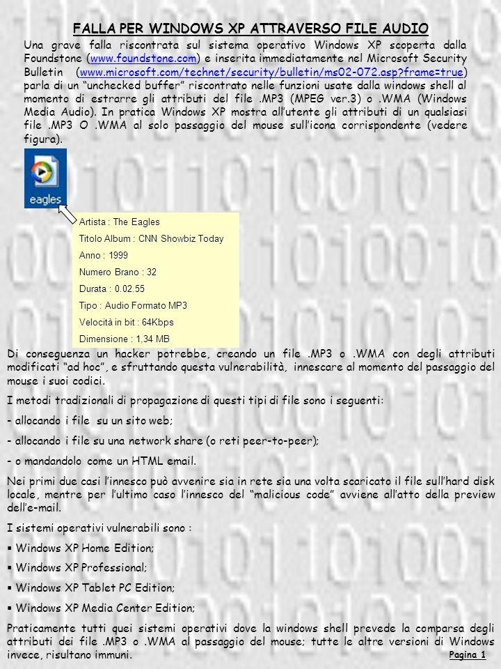 Pagina 2 Invece altri file audio e video come.WAV -.AVI -.MPEG non risultano affetti.