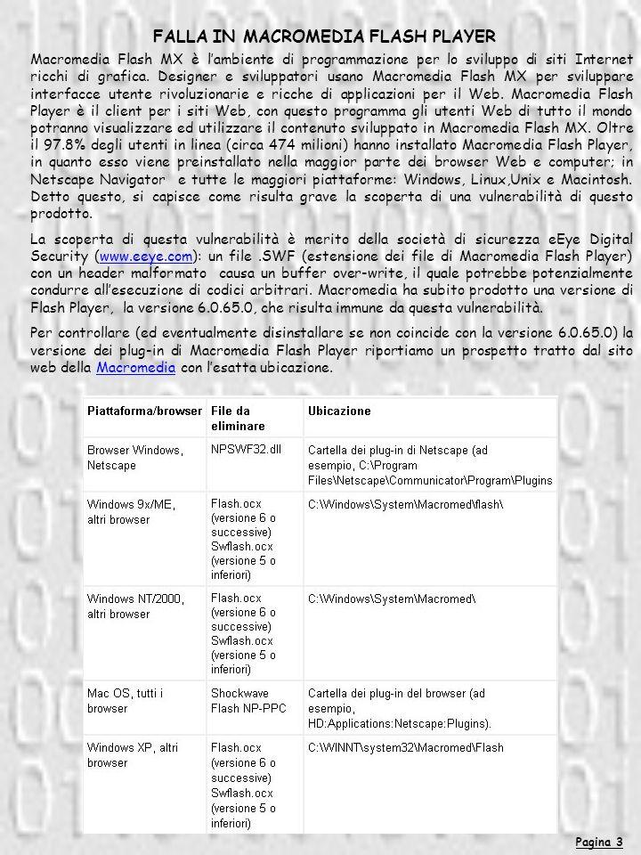 Pagina 3 FALLA IN MACROMEDIA FLASH PLAYER Macromedia Flash MX è lambiente di programmazione per lo sviluppo di siti Internet ricchi di grafica.