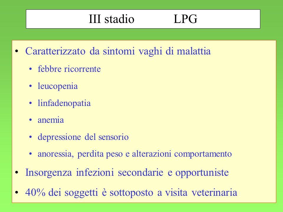 105 III stadioLPG Caratterizzato da sintomi vaghi di malattia febbre ricorrente leucopenia linfadenopatia anemia depressione del sensorio anoressia, p