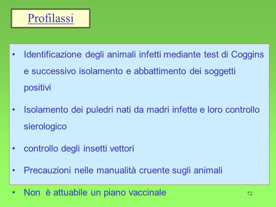 72 Profilassi Identificazione degli animali infetti mediante test di Coggins e successivo isolamento e abbattimento dei soggetti positivi Isolamento d