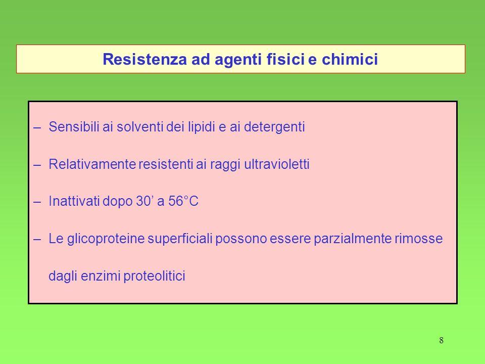 8 Resistenza ad agenti fisici e chimici –Sensibili ai solventi dei lipidi e ai detergenti –Relativamente resistenti ai raggi ultravioletti –Inattivati