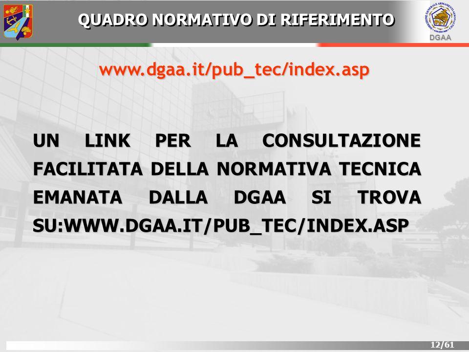 DGAA 12/61 QUADRO NORMATIVO DI RIFERIMENTO www.dgaa.it/pub_tec/index.asp UN LINK PER LA CONSULTAZIONE FACILITATA DELLA NORMATIVA TECNICA EMANATA DALLA