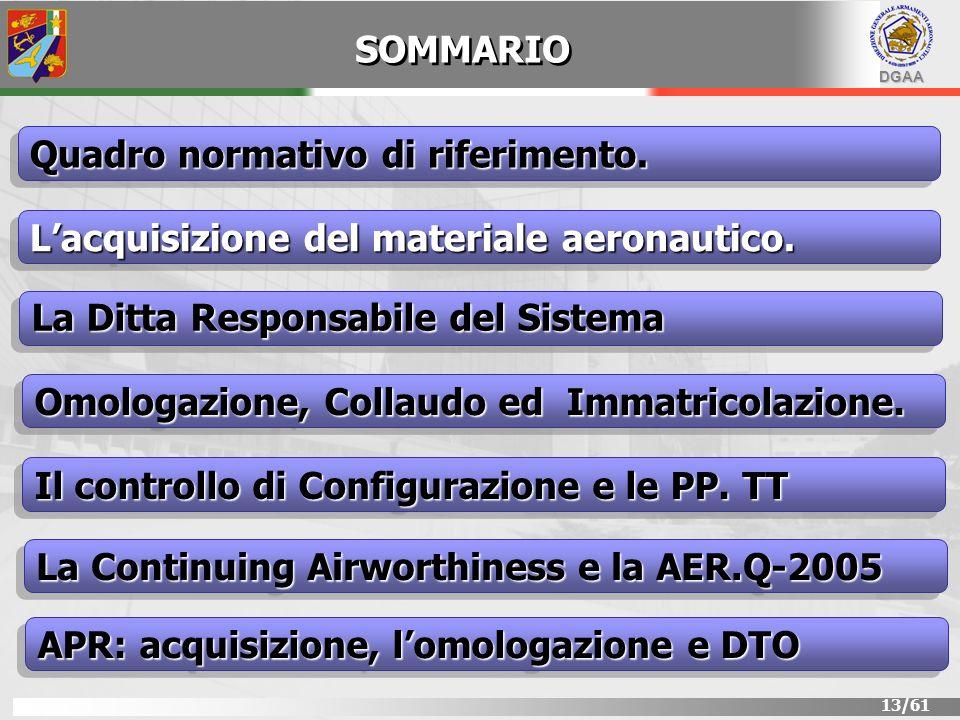 DGAA 13/61 SOMMARIO Lacquisizione del materiale aeronautico. Quadro normativo di riferimento. La Ditta Responsabile del Sistema Il controllo di Config