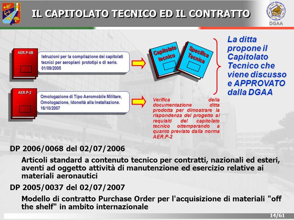 DGAA 14/61 Istruzioni per la compilazione dei capitolati tecnici per aeroplani prototipi e di serie. 01/09/2005 AER.P-6B Omologazione di Tipo Aeromobi