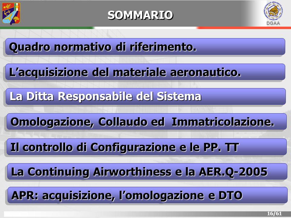 DGAA 16/61 SOMMARIO Lacquisizione del materiale aeronautico. Quadro normativo di riferimento. La Ditta Responsabile del Sistema Il controllo di Config