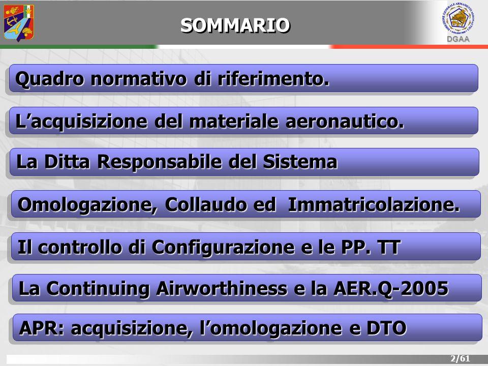 DGAA 2/61 SOMMARIO Lacquisizione del materiale aeronautico. Quadro normativo di riferimento. La Ditta Responsabile del Sistema Il controllo di Configu