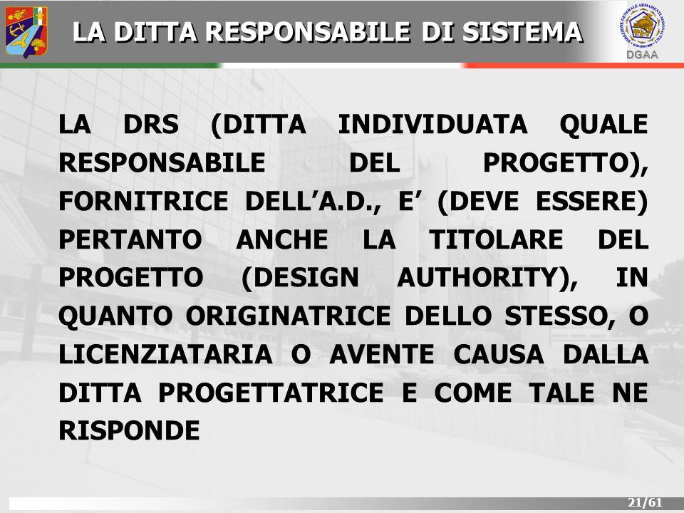 DGAA 21/61 LA DRS (DITTA INDIVIDUATA QUALE RESPONSABILE DEL PROGETTO), FORNITRICE DELLA.D., E (DEVE ESSERE) PERTANTO ANCHE LA TITOLARE DEL PROGETTO (D
