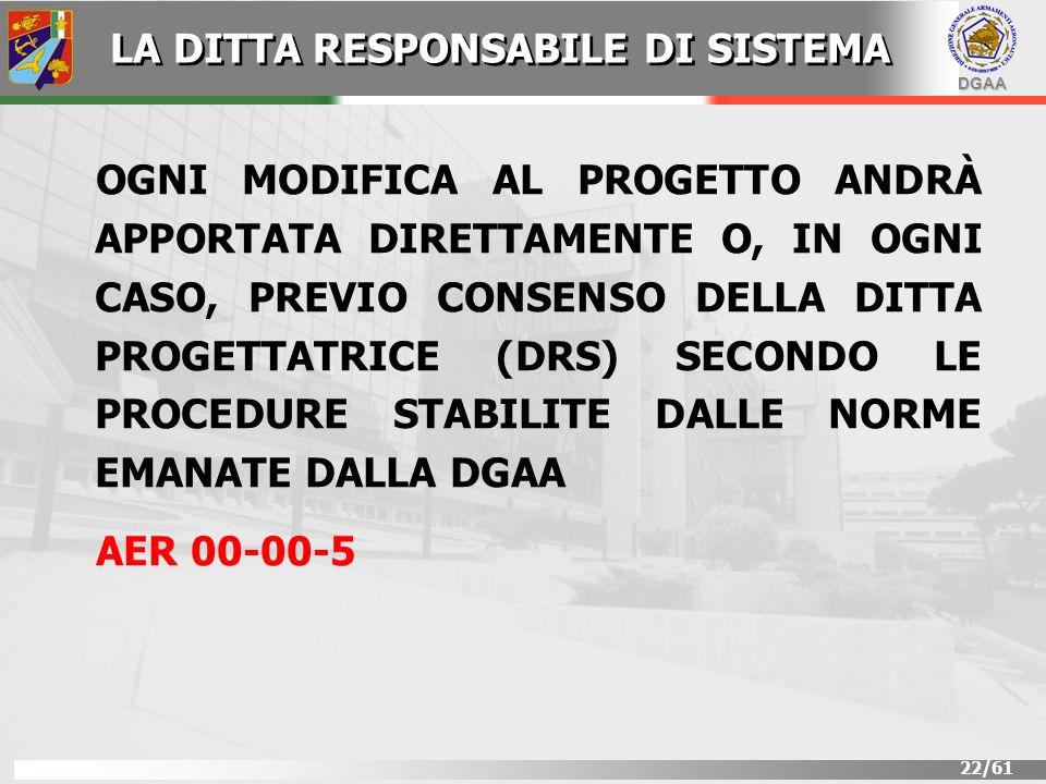 DGAA 22/61 OGNI MODIFICA AL PROGETTO ANDRÀ APPORTATA DIRETTAMENTE O, IN OGNI CASO, PREVIO CONSENSO DELLA DITTA PROGETTATRICE (DRS) SECONDO LE PROCEDUR