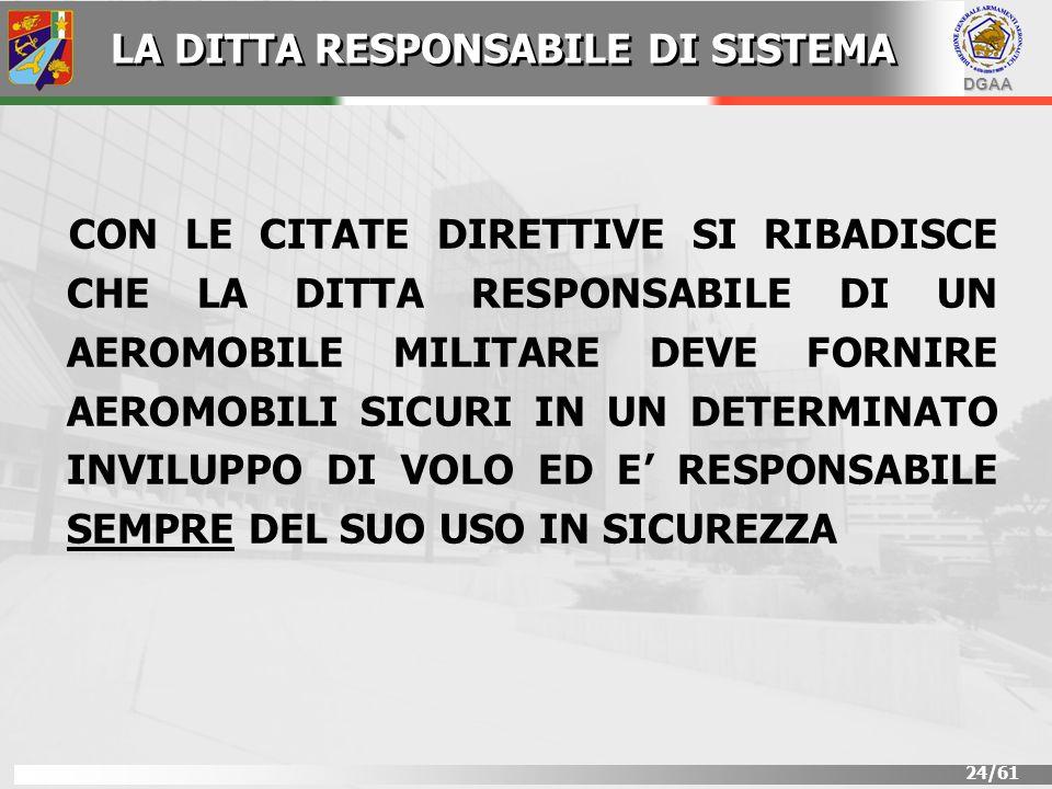 DGAA 24/61 CON LE CITATE DIRETTIVE SI RIBADISCE CHE LA DITTA RESPONSABILE DI UN AEROMOBILE MILITARE DEVE FORNIRE AEROMOBILI SICURI IN UN DETERMINATO I