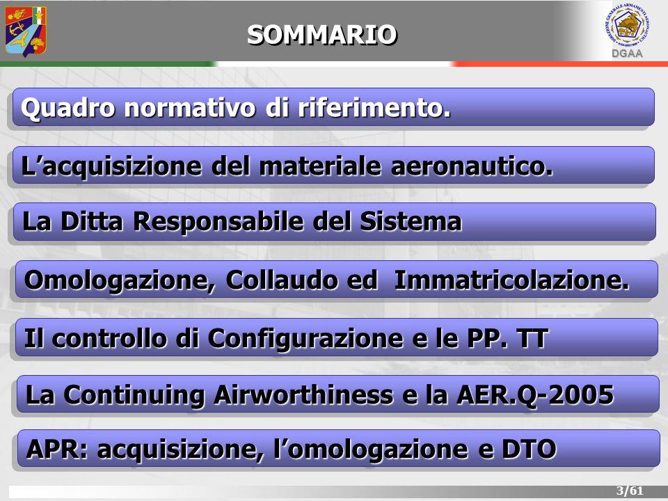 DGAA 3/61 SOMMARIO Lacquisizione del materiale aeronautico. Quadro normativo di riferimento. La Ditta Responsabile del Sistema Il controllo di Configu