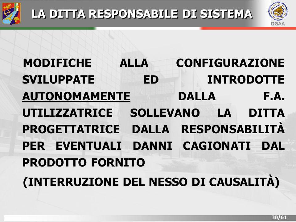 DGAA 30/61 MODIFICHE ALLA CONFIGURAZIONE SVILUPPATE ED INTRODOTTE AUTONOMAMENTE DALLA F.A. UTILIZZATRICE SOLLEVANO LA DITTA PROGETTATRICE DALLA RESPON