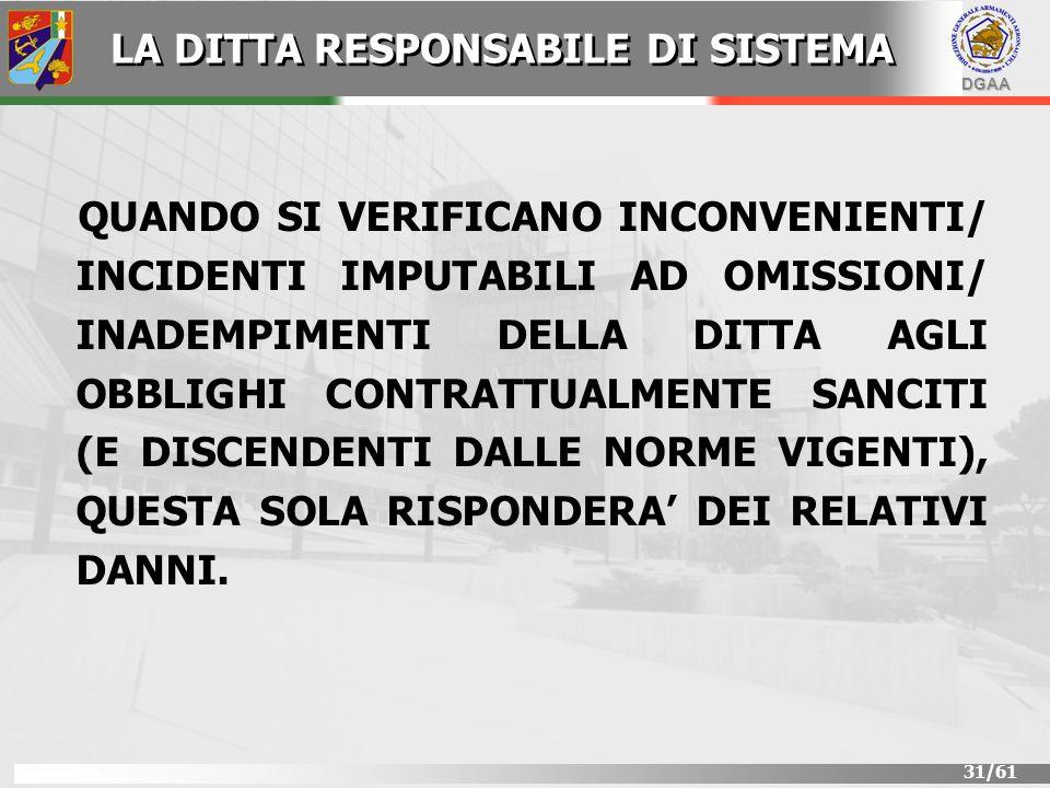 DGAA 31/61 QUANDO SI VERIFICANO INCONVENIENTI/ INCIDENTI IMPUTABILI AD OMISSIONI/ INADEMPIMENTI DELLA DITTA AGLI OBBLIGHI CONTRATTUALMENTE SANCITI (E
