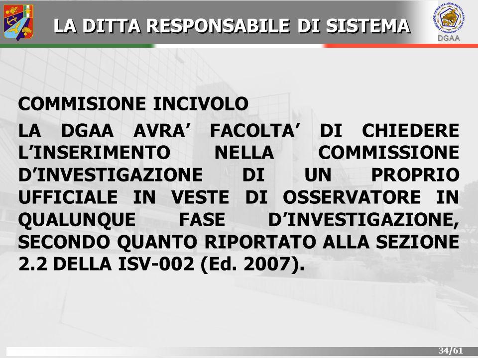 DGAA 34/61 COMMISIONE INCIVOLO LA DGAA AVRA FACOLTA DI CHIEDERE LINSERIMENTO NELLA COMMISSIONE DINVESTIGAZIONE DI UN PROPRIO UFFICIALE IN VESTE DI OSS