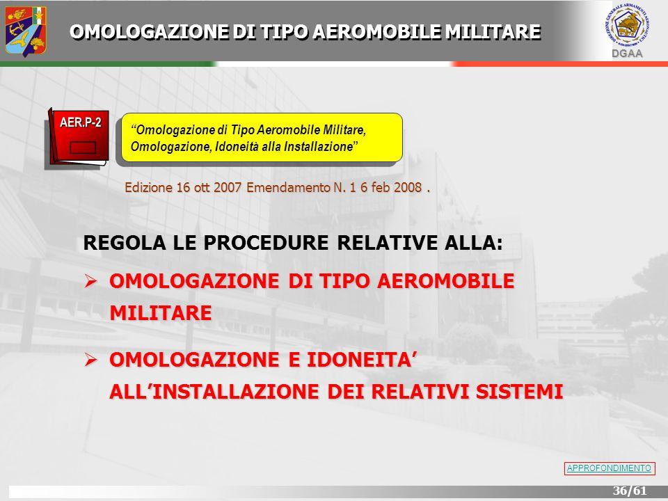 DGAA 36/61 Edizione 16 ott 2007 Emendamento N. 1 6 feb 2008. REGOLA LE PROCEDURE RELATIVE ALLA: OMOLOGAZIONE DI TIPO AEROMOBILE MILITARE OMOLOGAZIONE