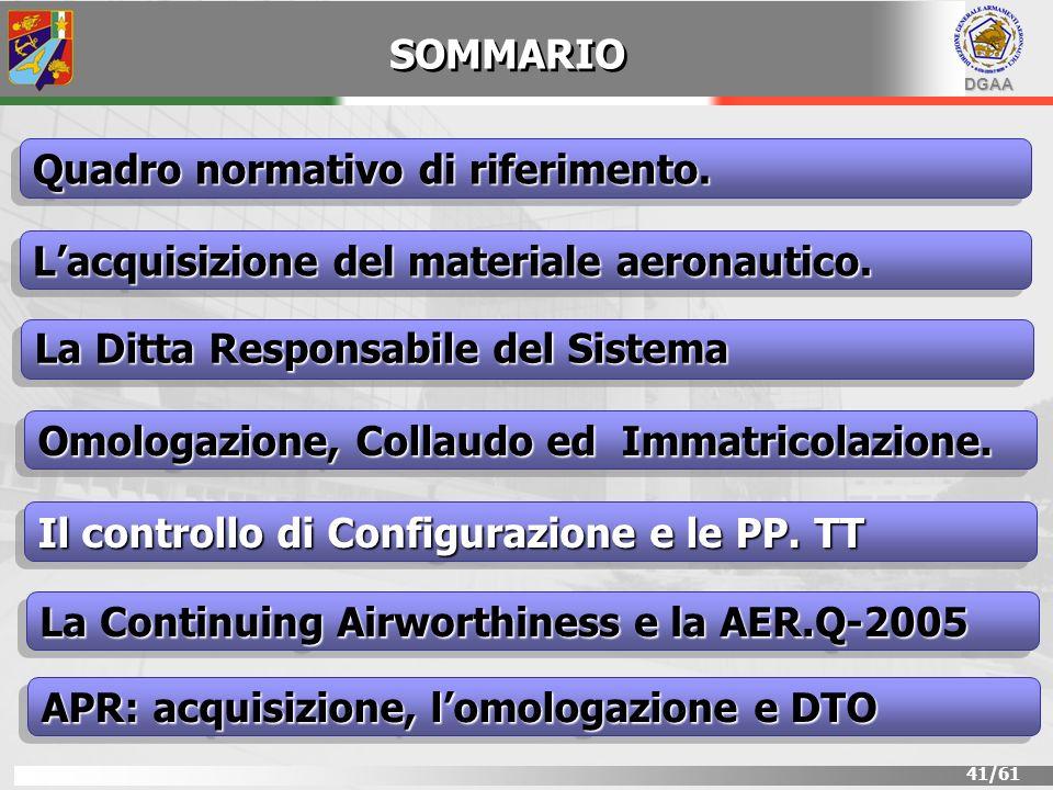 DGAA 41/61 SOMMARIO Lacquisizione del materiale aeronautico. Quadro normativo di riferimento. La Ditta Responsabile del Sistema Il controllo di Config