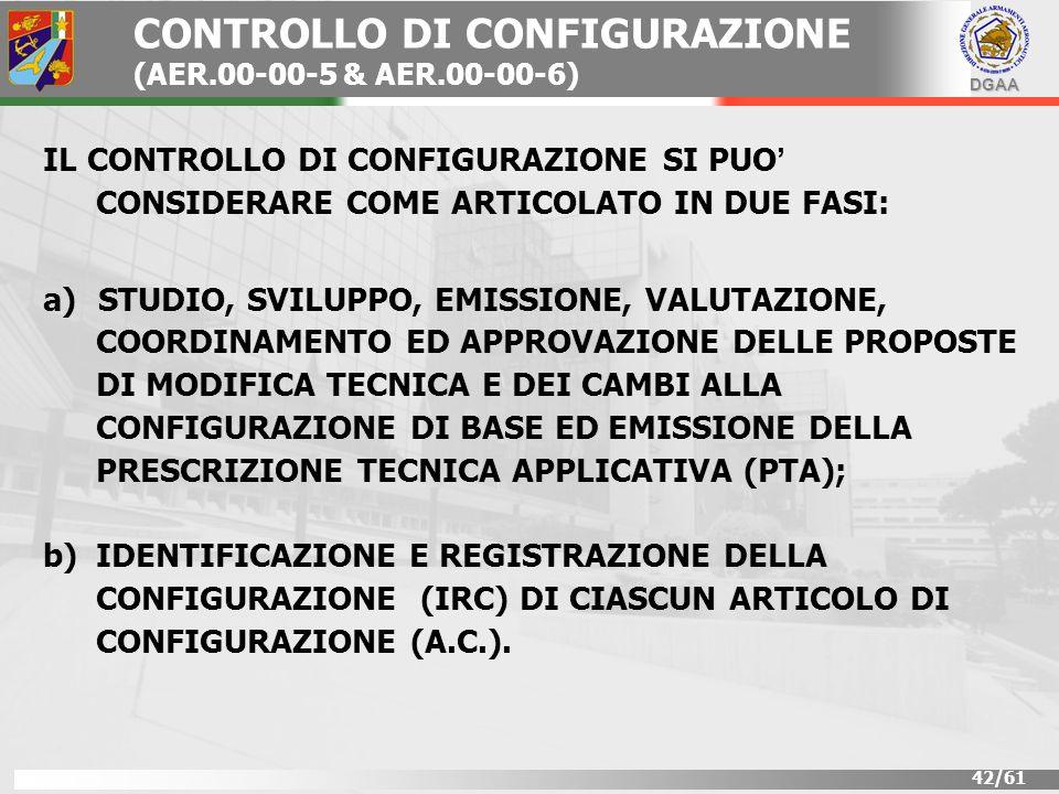 DGAA 42/61 CONTROLLO DI CONFIGURAZIONE (AER.00-00-5 & AER.00-00-6) IL CONTROLLO DI CONFIGURAZIONE SI PUO CONSIDERARE COME ARTICOLATO IN DUE FASI: a) a