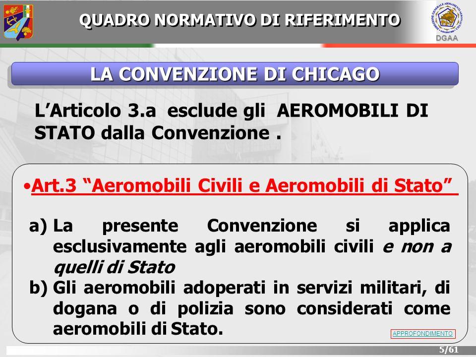 DGAA 5/61 LA CONVENZIONE DI CHICAGO LArticolo 3.a esclude gli AEROMOBILI DI STATO dalla Convenzione. Art.3 Aeromobili Civili e Aeromobili di Stato a)