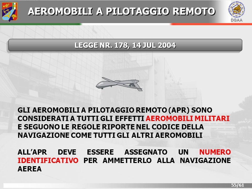 DGAA 55/61 GLI AEROMOBILI A PILOTAGGIO REMOTO (APR) SONO CONSIDERATI A TUTTI GLI EFFETTI AEROMOBILI MILITARI E SEGUONO LE REGOLE RIPORTE NEL CODICE DE