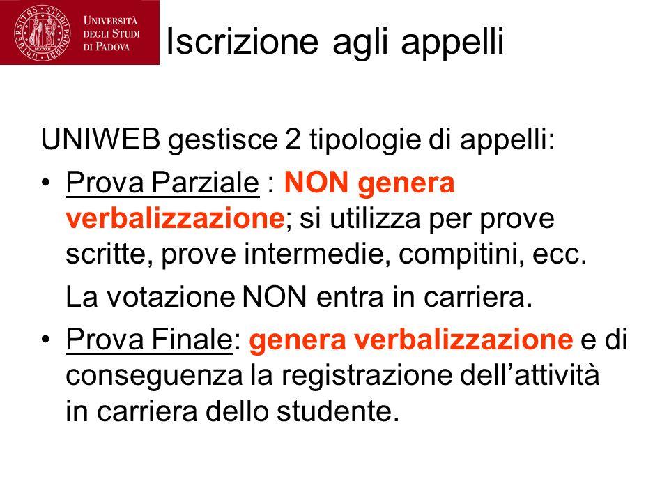 Iscrizione agli appelli UNIWEB gestisce 2 tipologie di appelli: Prova Parziale : NON genera verbalizzazione; si utilizza per prove scritte, prove intermedie, compitini, ecc.