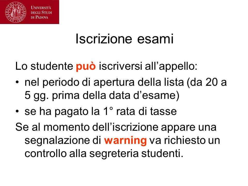Iscrizione esami Lo studente può iscriversi allappello: nel periodo di apertura della lista (da 20 a 5 gg.